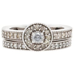 .50ctw Round Diamond Halo Engagement Ring & Wedding Band, 14k Gold Milgrain