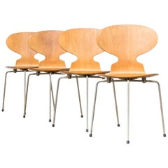 Arne Jacobsen Plywood Original 'Model 3100 Ant' Chair for Fritz Hanzen, Set of 4