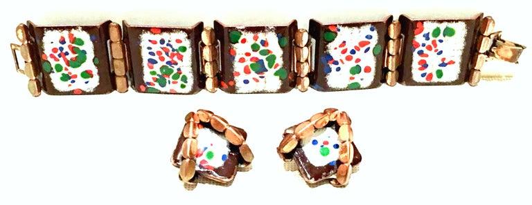 Modernist 50'S Copper & Enamel Link Bracelet And Earrings S/3 By Renoir-Matisse