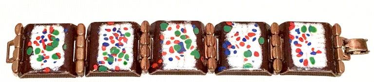 50'S Copper & Enamel Link Bracelet And Earrings S/3 By Renoir-Matisse In Good Condition In West Palm Beach, FL