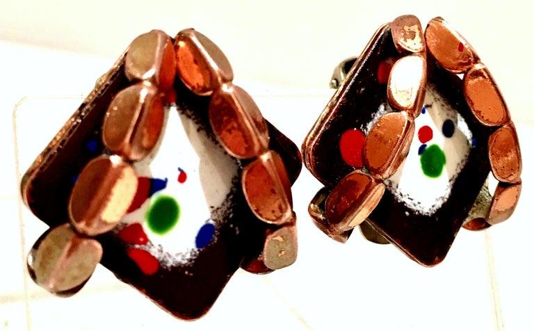 50'S Copper & Enamel Link Bracelet And Earrings S/3 By Renoir-Matisse 2