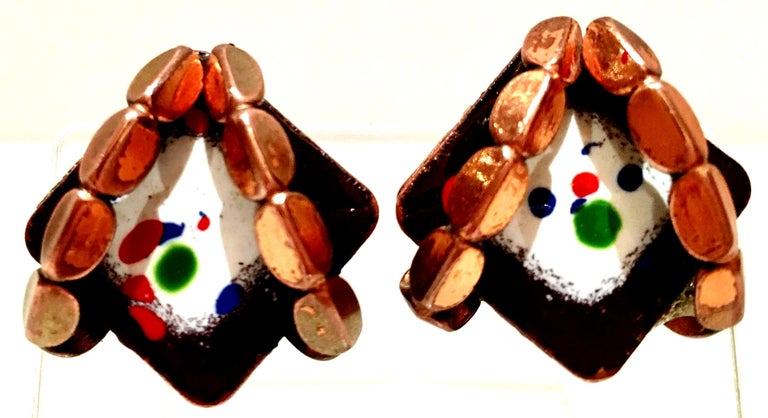 50'S Copper & Enamel Link Bracelet And Earrings S/3 By Renoir-Matisse 3