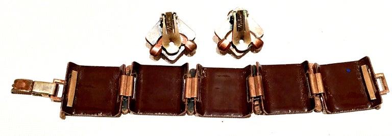 50'S Copper & Enamel Link Bracelet And Earrings S/3 By Renoir-Matisse 4