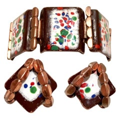50'S Copper & Enamel Link Bracelet And Earrings S/3 By Renoir-Matisse