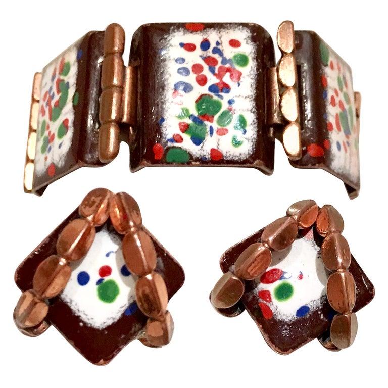 50'S Copper & Enamel Link Bracelet And Earrings S/3 By Renoir-Matisse