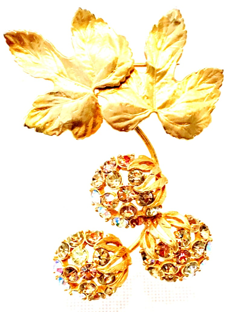 1950'S Elsa Schiaparelli Organic Modern Dangling Leaf & Fruit Brooch. This incredibly rare collectors piece, most likely part of the