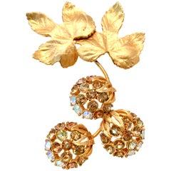 """50'S Elsa Schiaparelli Gold & Swarovski Crystal """" Forbidden Fruit"""" Brooch"""