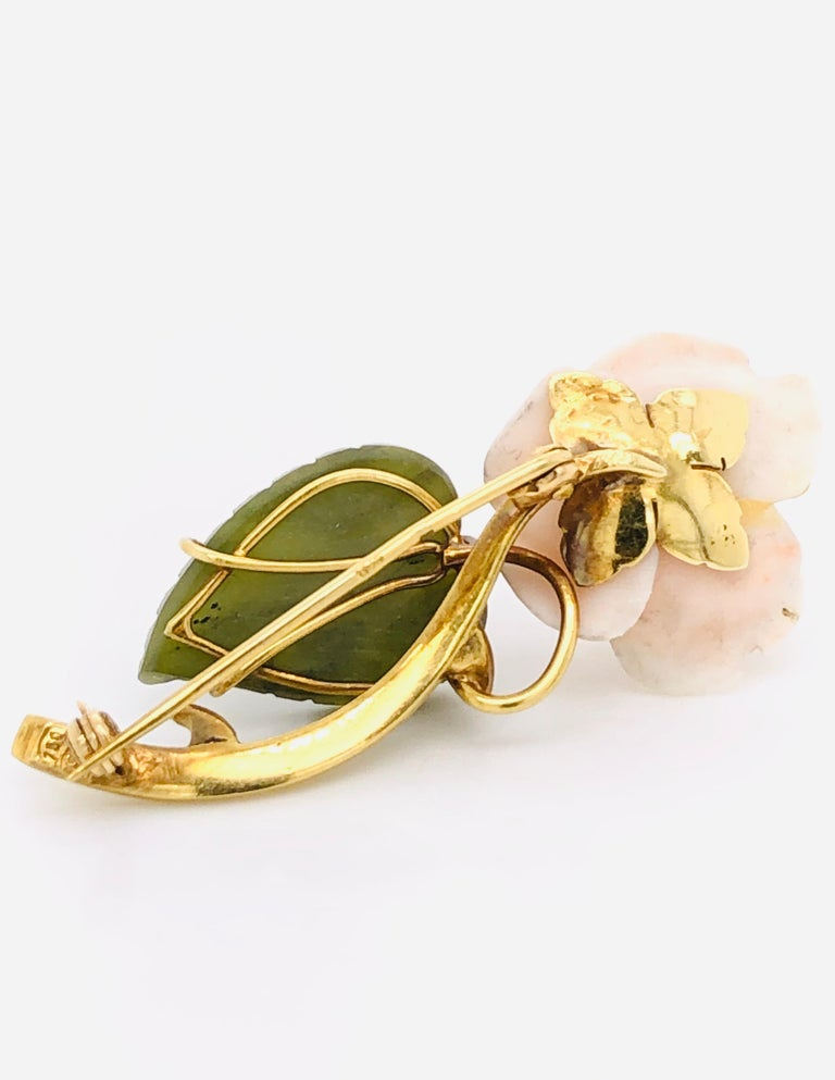 Contemporary 1950s Floral Brooch Yellow Gold 18 Karat For Sale