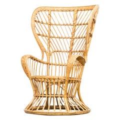 50s Gio Ponti & Lio Carminati 'biancamano' wicker chair for Vittorio Bonacina