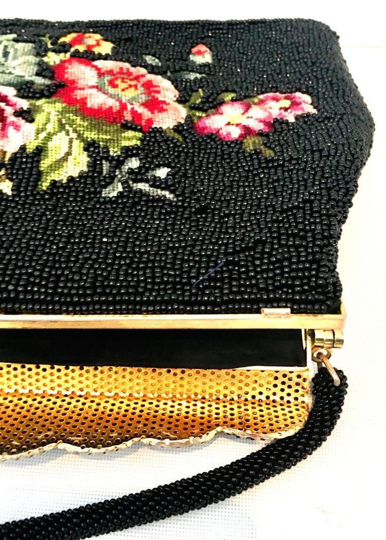 50'S Glass Glass Bead & Crewel Embroidered Hand Bag-Hong Kong For Sale 5
