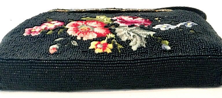 50'S Glass Glass Bead & Crewel Embroidered Hand Bag-Hong Kong For Sale 2