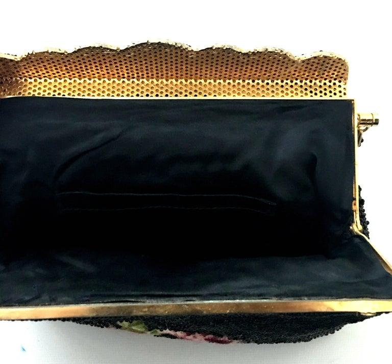 50'S Glass Glass Bead & Crewel Embroidered Hand Bag-Hong Kong For Sale 8