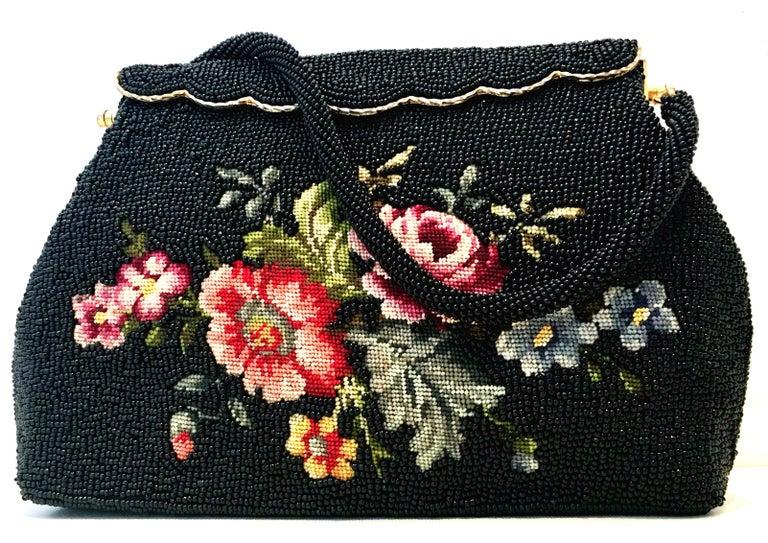 Black 50'S Glass Glass Bead & Crewel Embroidered Hand Bag-Hong Kong For Sale