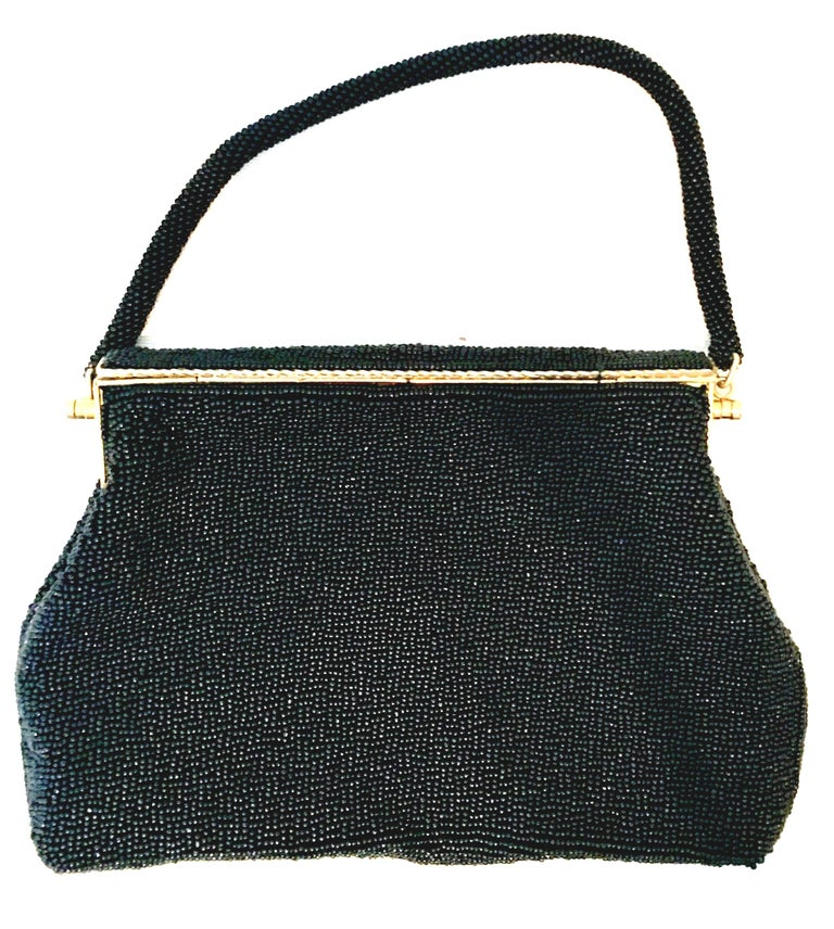 50'S Glass Glass Bead & Crewel Embroidered Hand Bag-Hong Kong In Good Condition For Sale In West Palm Beach, FL
