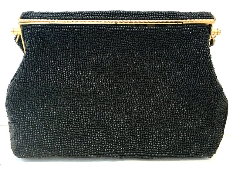 Women's or Men's 50'S Glass Glass Bead & Crewel Embroidered Hand Bag-Hong Kong For Sale