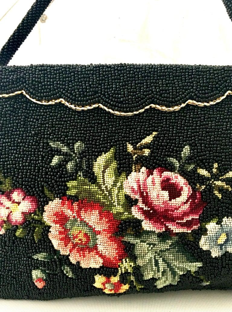 50'S Glass Glass Bead & Crewel Embroidered Hand Bag-Hong Kong For Sale 3
