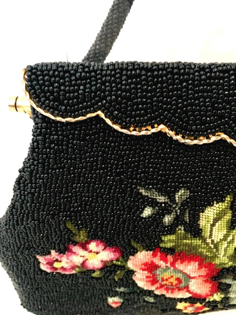50'S Glass Glass Bead & Crewel Embroidered Hand Bag-Hong Kong For Sale 4