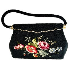 50'S Glass Glass Bead & Crewel Embroidered Hand Bag-Hong Kong