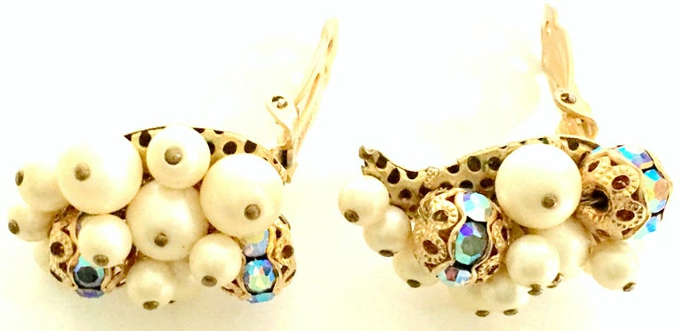 50'S Gold Faux Pearl Bead & Swarovski Crystal Earrings By, Kramer For Sale 3
