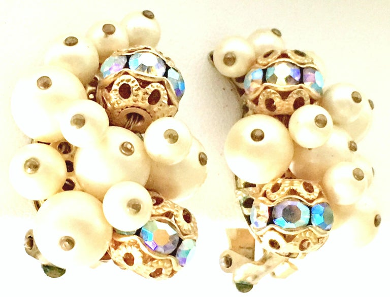 50'S Gold Faux Pearl Bead & Swarovski Crystal Earrings By, Kramer For Sale 1
