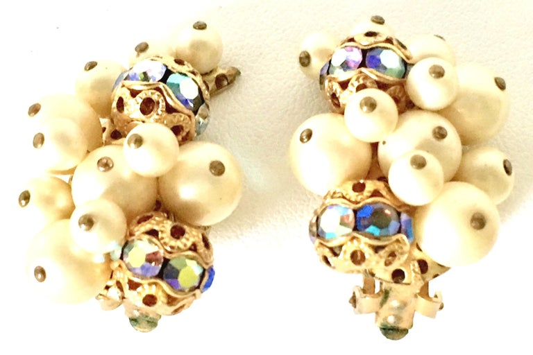 50'S Gold Faux Pearl Bead & Swarovski Crystal Earrings By, Kramer In Good Condition For Sale In West Palm Beach, FL