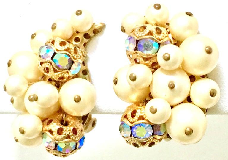 Women's 50'S Gold Faux Pearl Bead & Swarovski Crystal Earrings By, Kramer For Sale