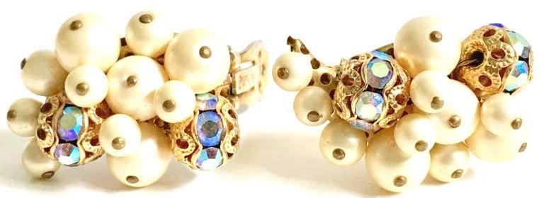50'S Gold Faux Pearl Bead & Swarovski Crystal Earrings By, Kramer For Sale 2