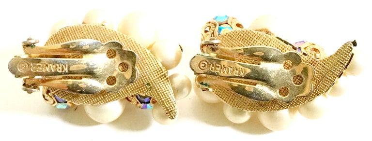 50'S Gold Faux Pearl Bead & Swarovski Crystal Earrings By, Kramer For Sale 4