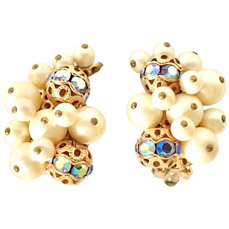 50'S Gold Faux Pearl Bead & Swarovski Crystal Earrings By, Kramer For Sale