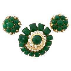 50'S Gold & Molded Glass Faux Pearl Brooch & Earrings S/3 By, B.S.K
