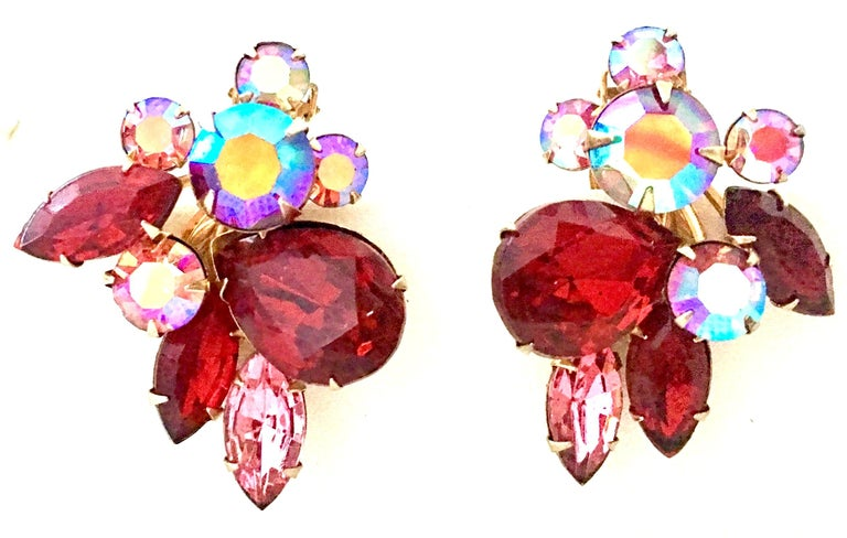 50'S Gold & Swarovski Crystal Abstract Floral Earrings By, Beaujewels In Good Condition For Sale In West Palm Beach, FL