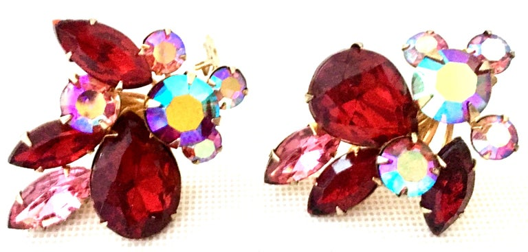 Women's or Men's 50'S Gold & Swarovski Crystal Abstract Floral Earrings By, Beaujewels For Sale