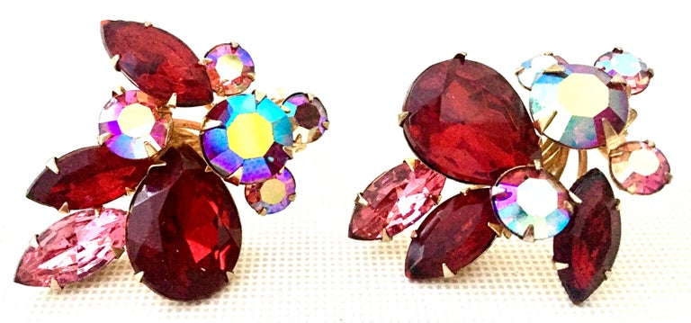 50'S Gold & Swarovski Crystal Abstract Floral Earrings By, Beaujewels For Sale 1