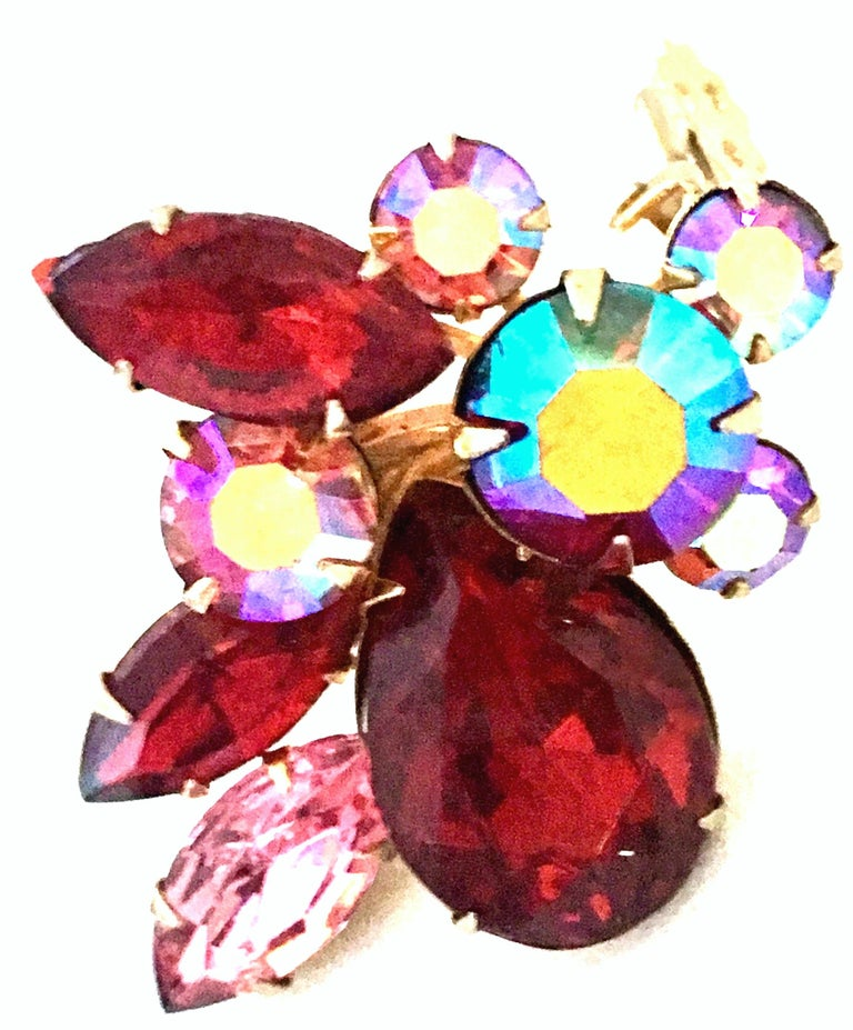 50'S Gold & Swarovski Crystal Abstract Floral Earrings By, Beaujewels For Sale 2