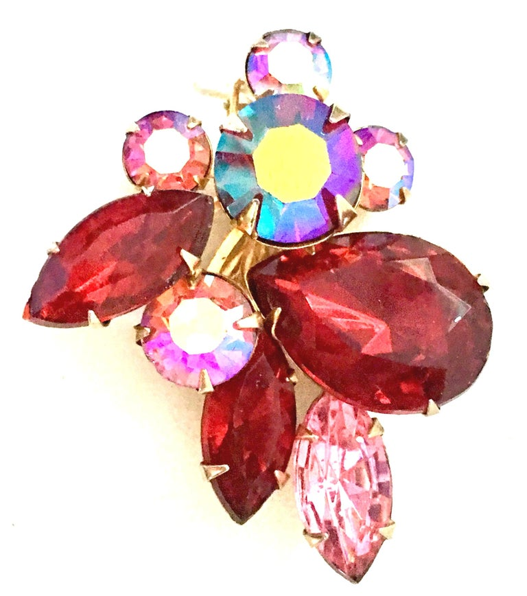 50'S Gold & Swarovski Crystal Abstract Floral Earrings By, Beaujewels For Sale 3