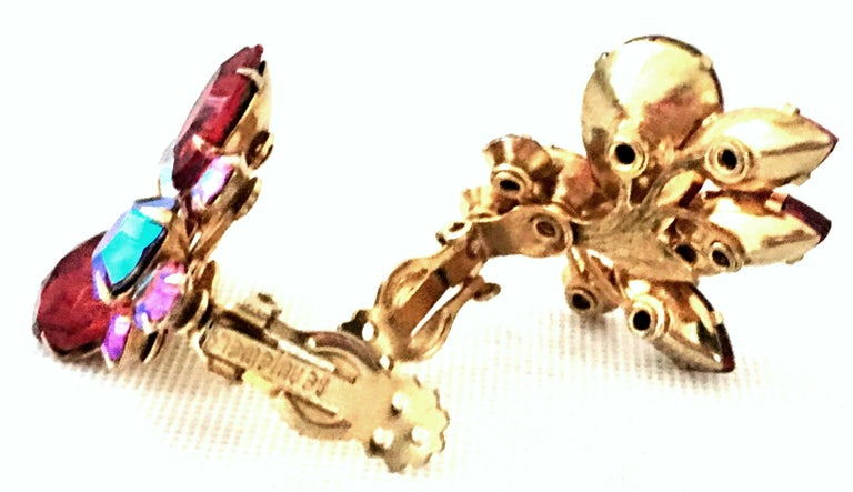 50'S Gold & Swarovski Crystal Abstract Floral Earrings By, Beaujewels For Sale 4