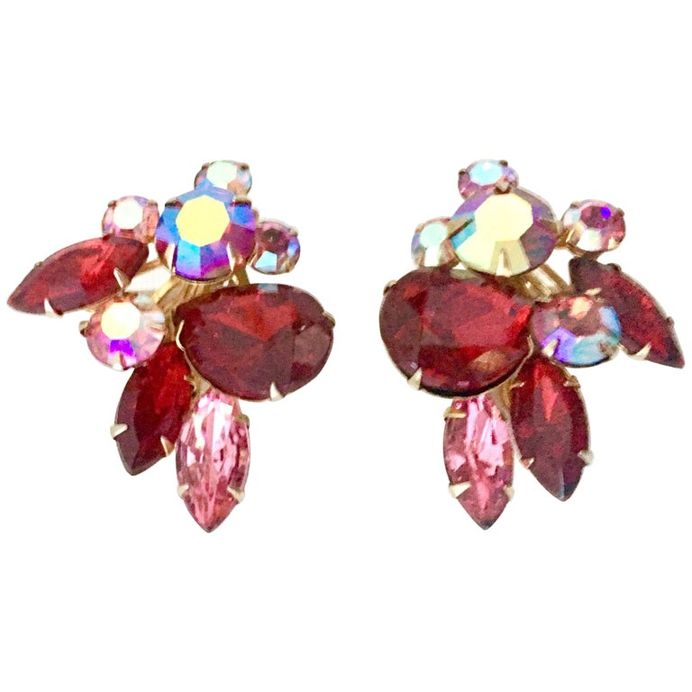 50'S Gold & Swarovski Crystal Abstract Floral Earrings By, Beaujewels For Sale