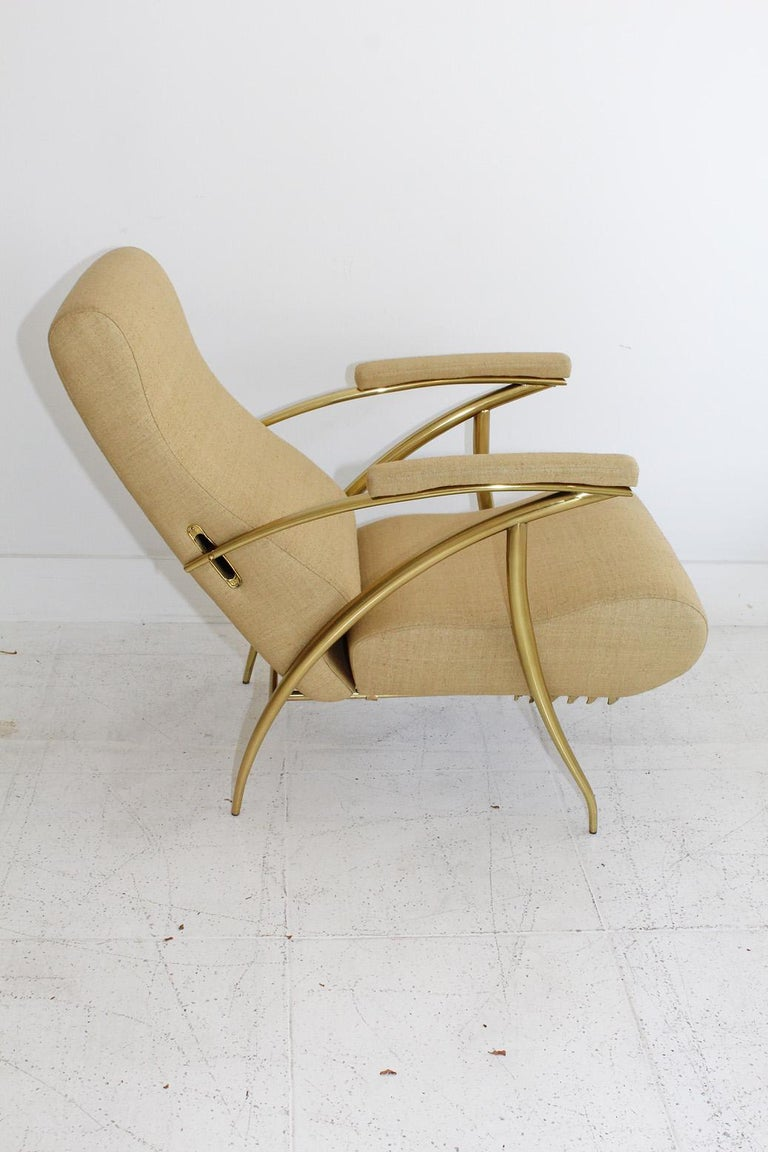 1957 Italian Adjustable Polished Brass Reclining Chair by Alberto Gambetta For Sale 5