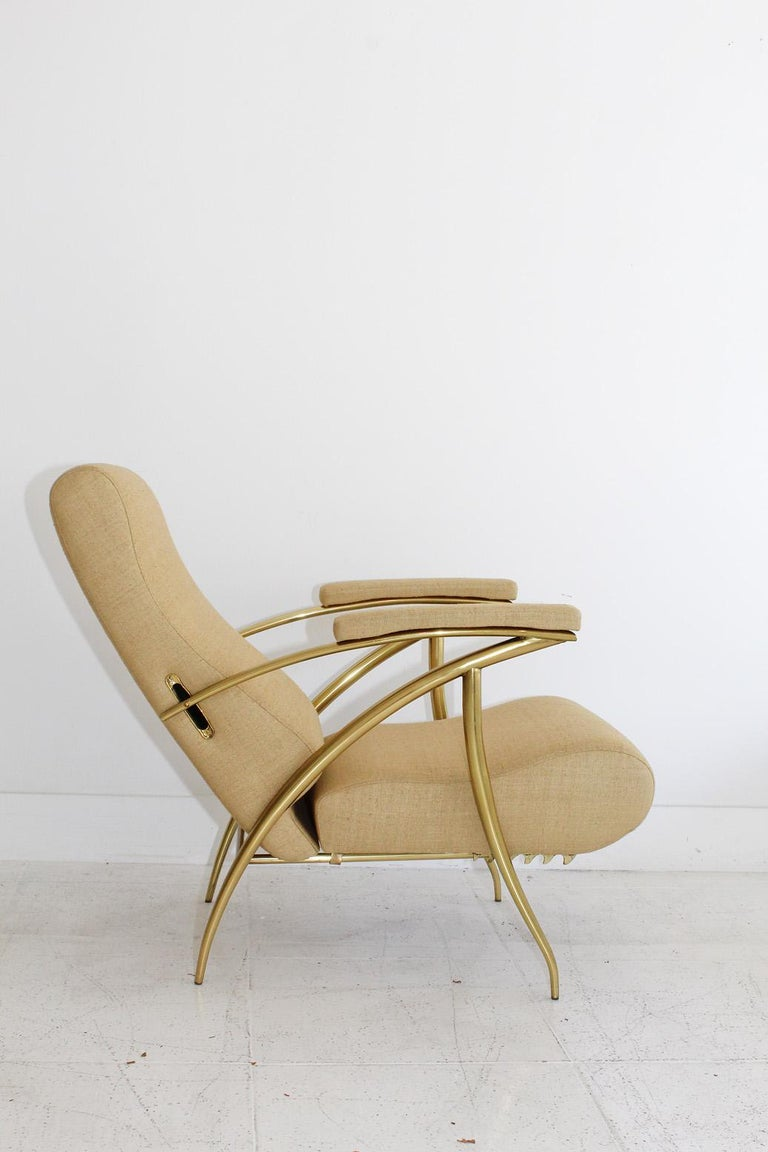 1957 Italian Adjustable Polished Brass Reclining Chair by Alberto Gambetta For Sale 6