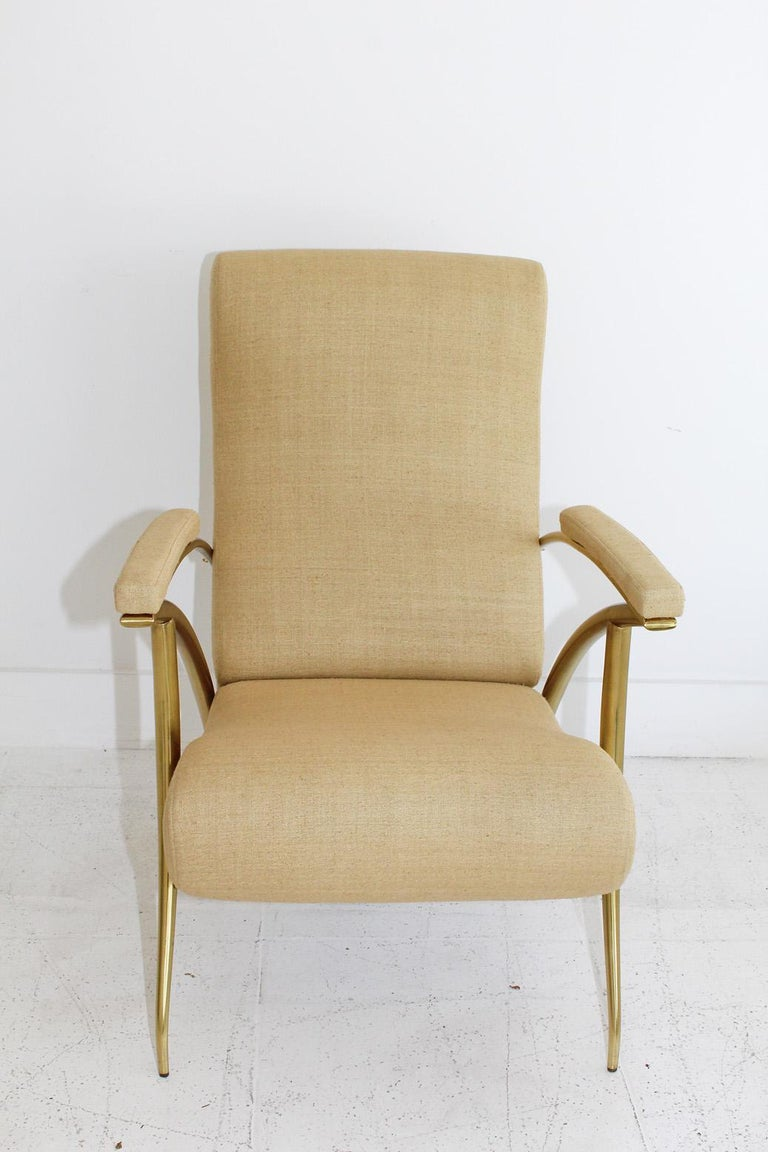 Mid-Century Modern 1957 Italian Adjustable Polished Brass Reclining Chair by Alberto Gambetta For Sale