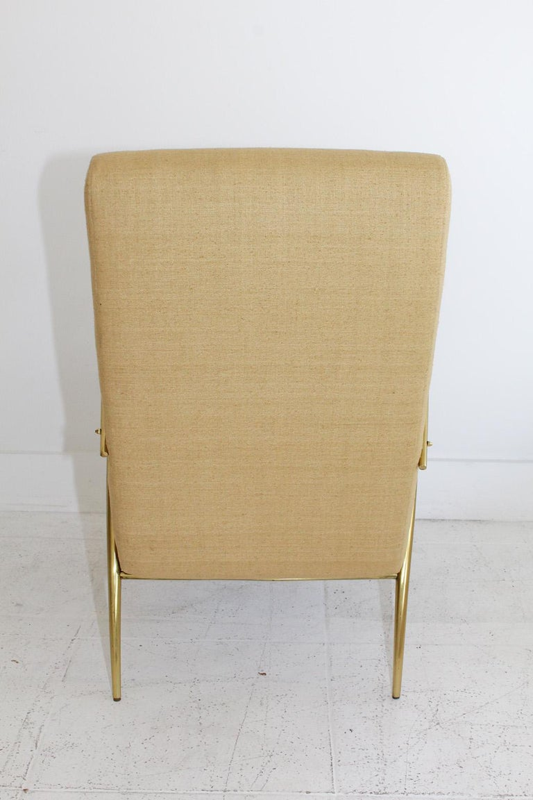 Mid-20th Century 1957 Italian Adjustable Polished Brass Reclining Chair by Alberto Gambetta For Sale