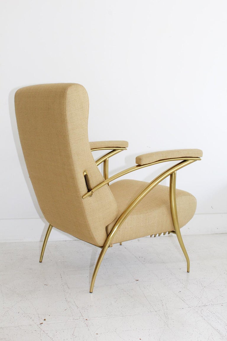 1957 Italian Adjustable Polished Brass Reclining Chair by Alberto Gambetta For Sale 1