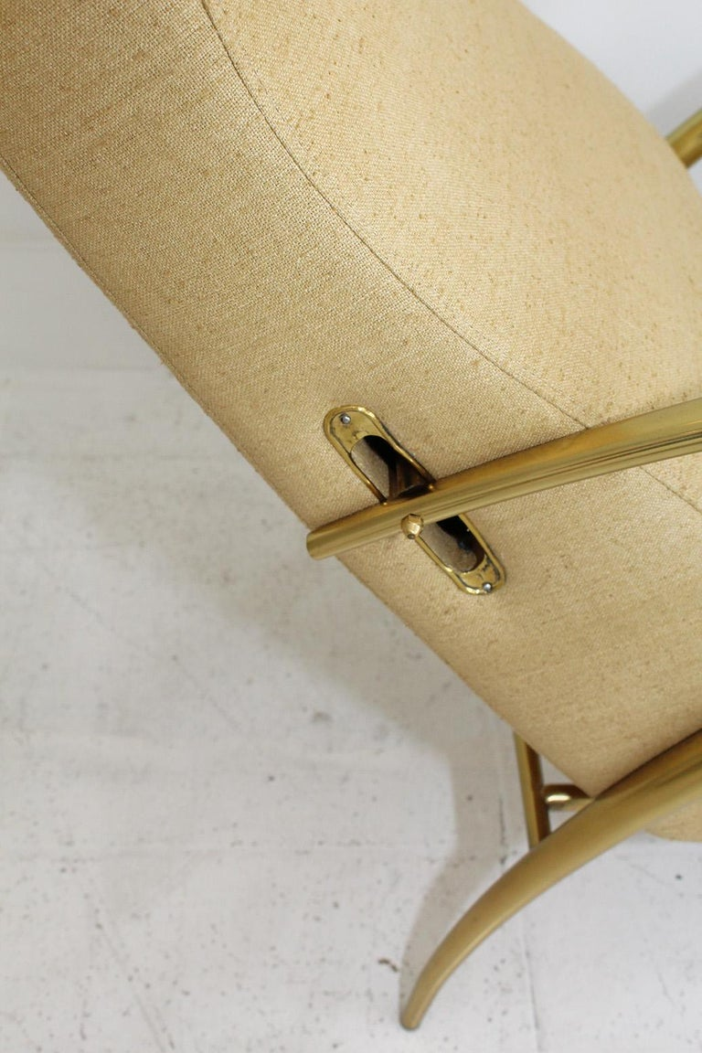 1957 Italian Adjustable Polished Brass Reclining Chair by Alberto Gambetta For Sale 2