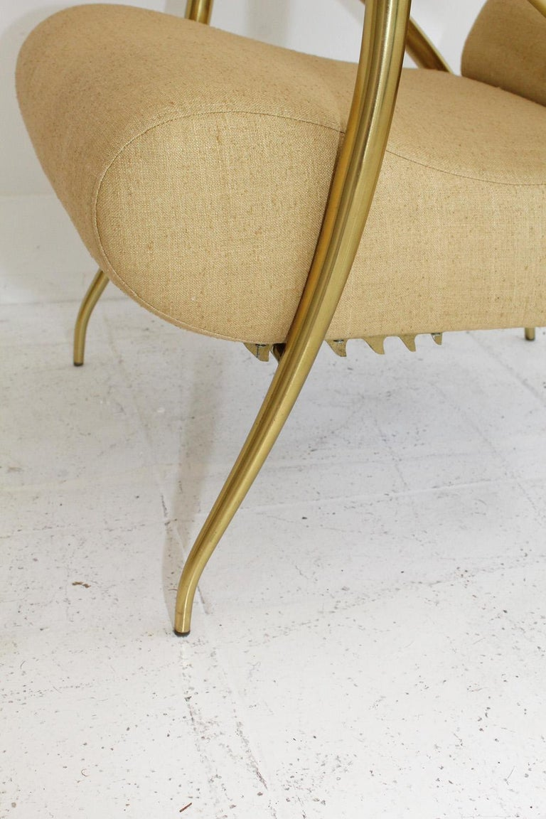 1957 Italian Adjustable Polished Brass Reclining Chair by Alberto Gambetta For Sale 4