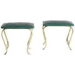 50's Italian Stools in Brass and Vinyl