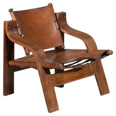 50's Leather Armchair with Curved Plywood, D176