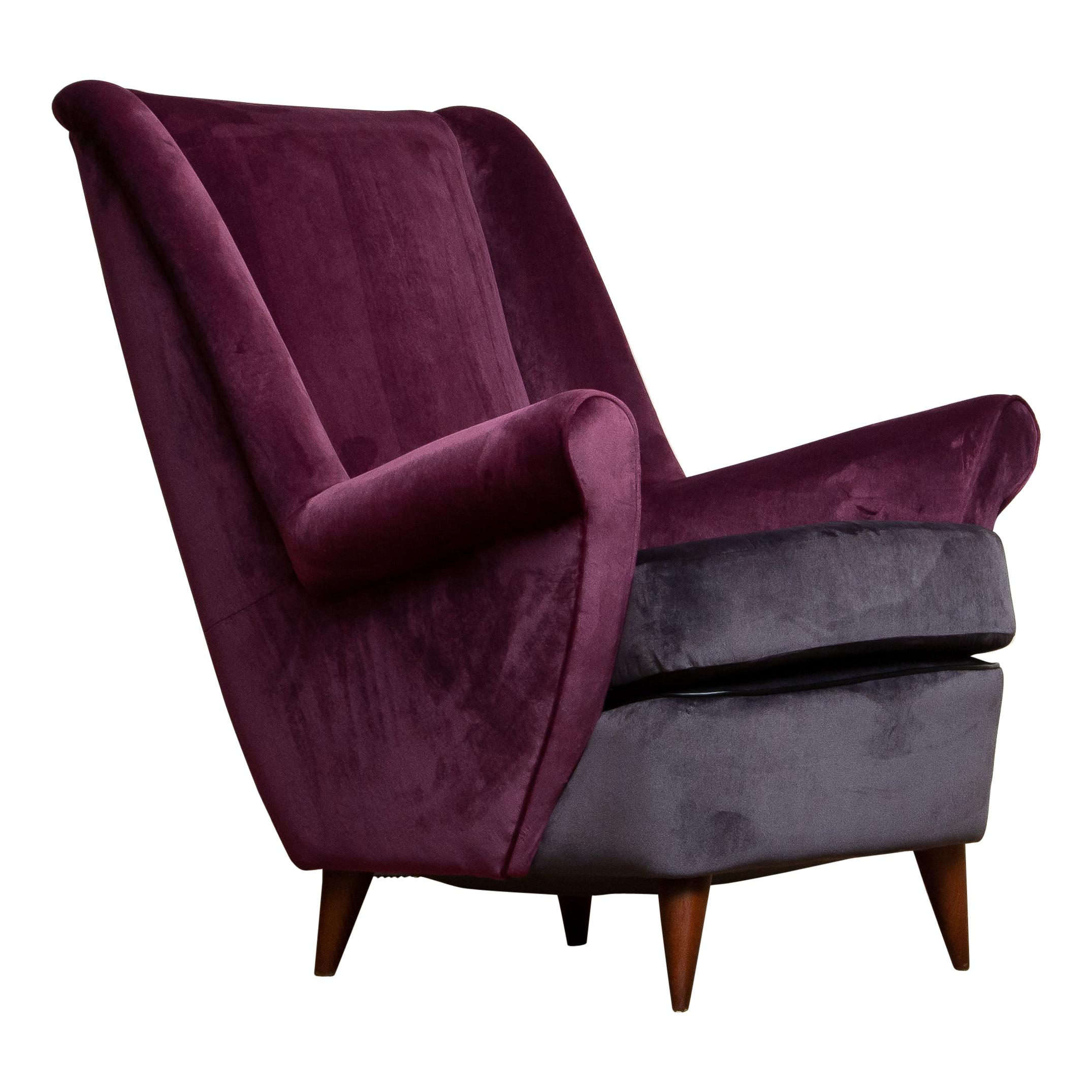 50's Lounge / Easy Chair in Magenta by Designed Gio Ponti for ISA Bergamo Italy