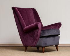50's Lounge / Easy Chair In Magenta By Designed Gio Ponti For ISA Bergamo Italy.