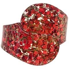 50'S Lucite Gold Fleck Confetti Clamper Cuff Bracelet