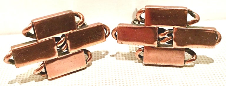 50'S Modernist Copper Geometric Chain Link Bracelet & Earrings S/3 By Matisse For Sale 6